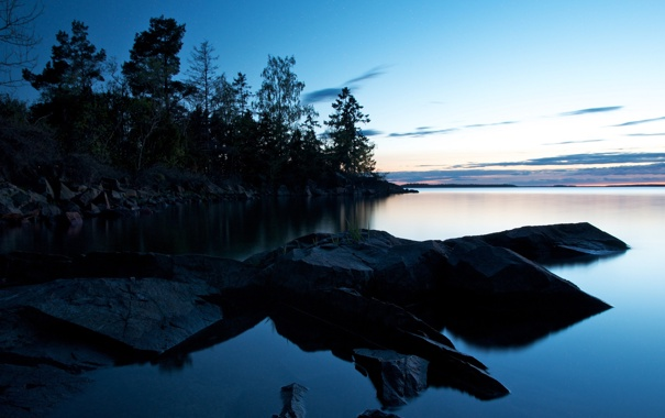 Фото обои деревья, камни, рассвет, утро, залив
