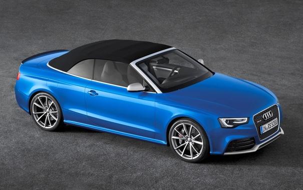 Фото обои Audi, Синий, Машина, Кабриолет, Капот, Фары, RS5