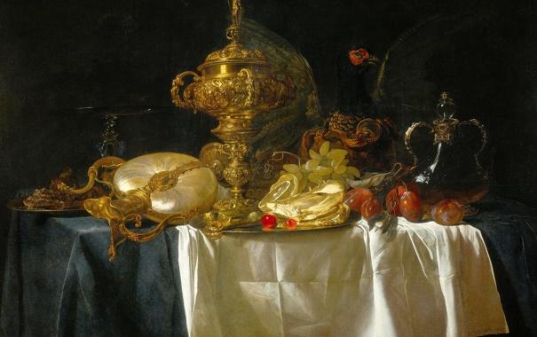 Фото обои картина, посуда, фрукты, натюрморт, Виллем ван Альст