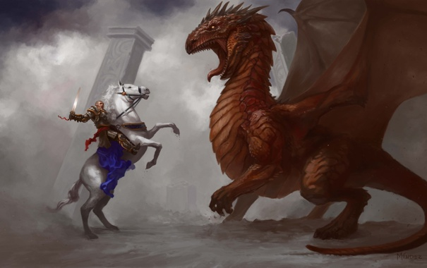 Фото обои оружие, конь, дракон, арт, колонны, дымка, всадник