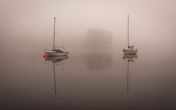 Фото обои озеро, лодка, утро, яхта, ткмал