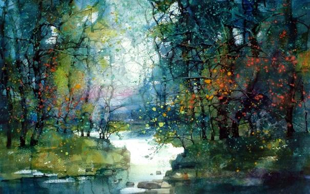 Фото обои деревья, пейзаж, река, картина, ZL Feng