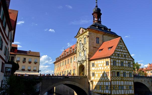 Фото обои мост, река, Германия, Бамберг, старая ратуша