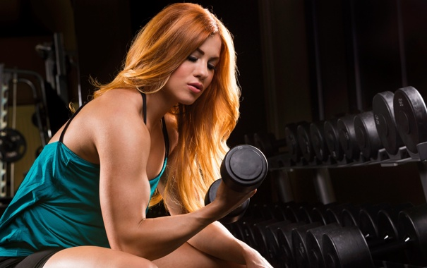 Фото обои redhead, workout, fitness, arms, dumbbell