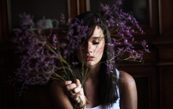 Фото обои девушка, цветы, фон, обои, настроения, брюнетка, красиво