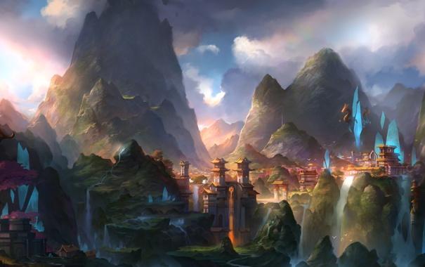 Фото обои горы, город, краски, водопад, сакура, art, fom