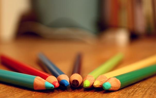 Фото обои стол, colors, Карандаши, разноцветные, table, pencil