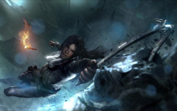 Фото обои факел, Tomb Raider, Lara Croft, ледоруб, Rise of the Tomb Raider