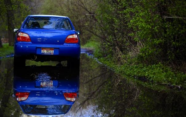 Фото обои Subaru, зеркало, Imperfections