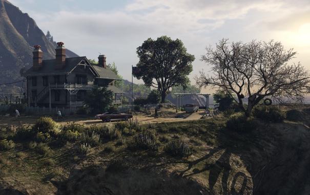 Фото обои деревья, дом, лос сантос, gta 5