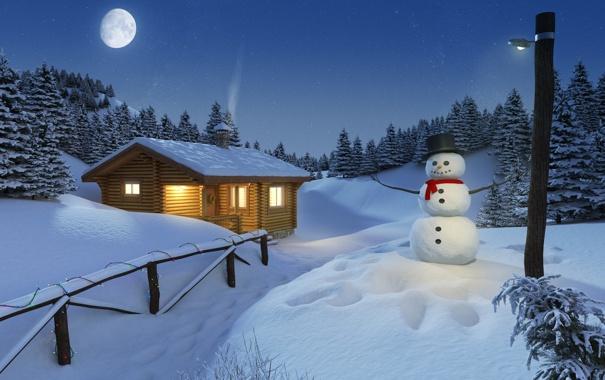 Фото обои лес, свет, снег, забор, Зима, Луна, домик