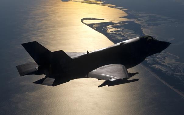 Фото обои истребитель, силуэт, бомбардировщик, F-35B, Lockheed Martin