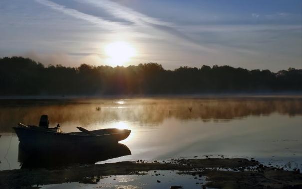 Фото обои туман, озеро, лодка, утро