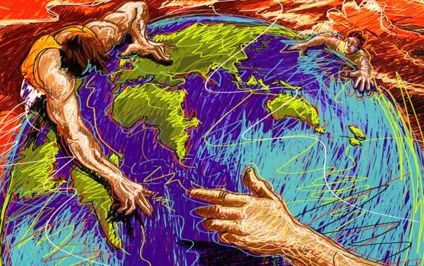 Фото обои абстракция, люди, земля, рука, вектор, штрих