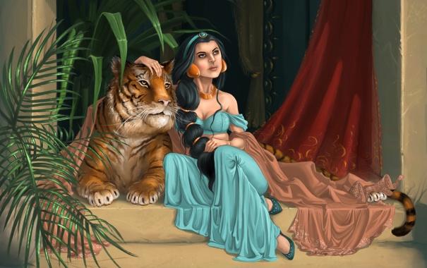 Фото обои листья, девушка, тигр, растение, арт, восток, ступеньки