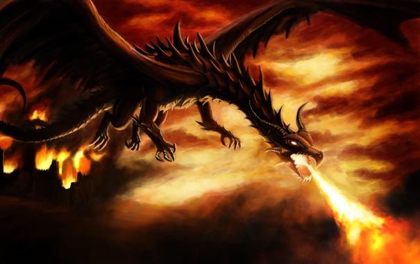 Фото обои замок, пламя, Дракон, шипы, когти