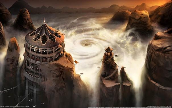 Фото обои шторм, арт, храм, воронка, Matrial Empires