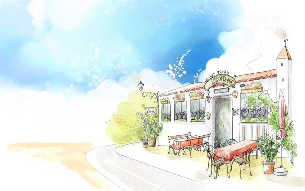 Фото обои дорога, небо, рисунок, акварель, фонарик, кафе, вывеска