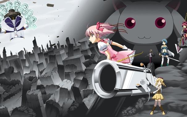 Фото обои город, оружие, аниме, мадока