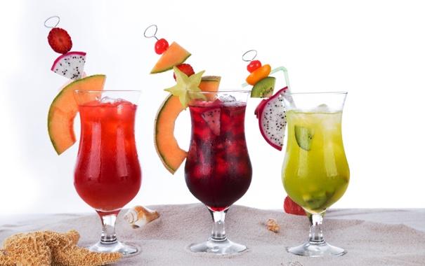 Фото обои пляж, коктейль, ice, summer, напиток, фрукты, beach