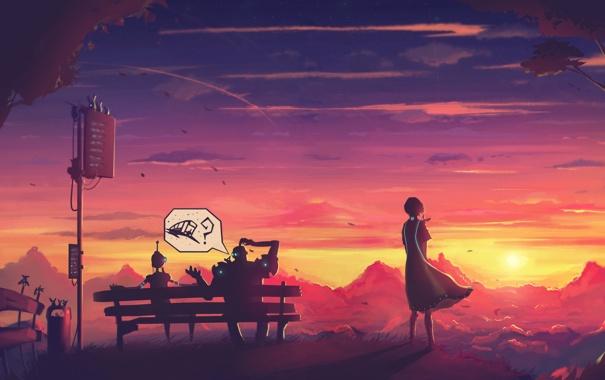 Фото обои девушка, закат, ожидание, robots, waiting