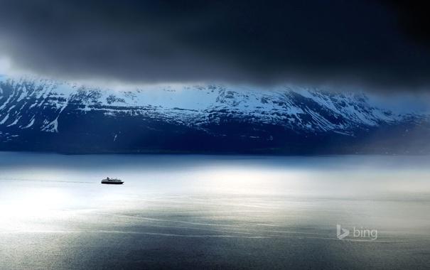 Фото обои небо, Норвегия, озеро, паром, Люнгенские Альпы, горы, корабль