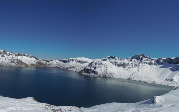 Фото обои Вода, Природа, Зима, Фото, Горы, Скалы, Озеро