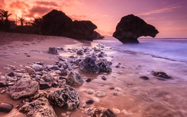 Фото обои пляж, закат, камни, океан, скалы