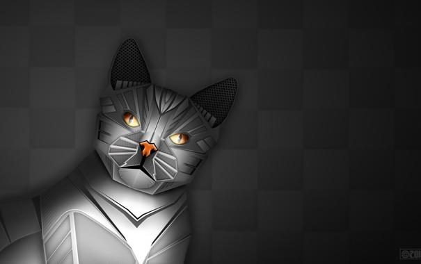Фото обои кот, фон, робот, арт, шахматка, робокот