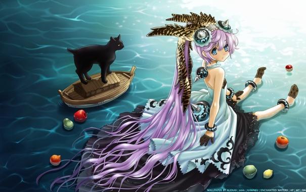 Фото обои кот, яблоки, аниме, девочка