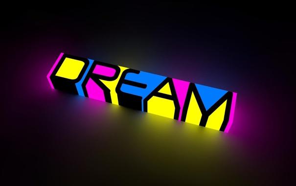 Фото обои надпись, мечта, желтый, разноцветная, голубой, цвет, розовый