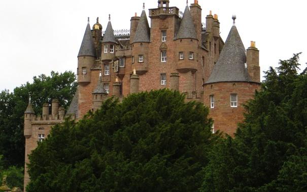 Фото обои фото, Город, Деревья, Шотландия, Замок, Glamis