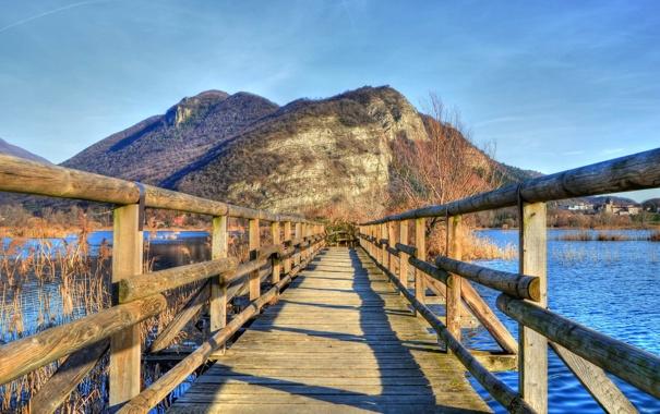 Фото обои пейзаж, мост, озеро
