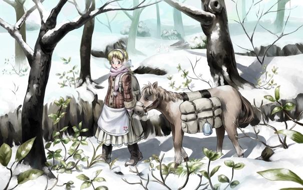 Фото обои зима, девушка, снег, деревья, животное, растения, аниме