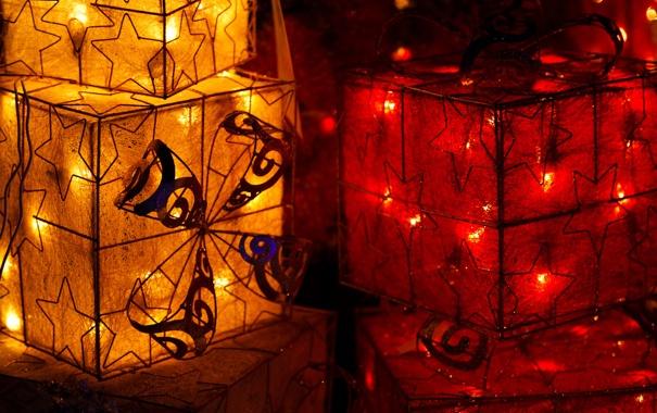 Фото обои звезды, свет, красный, желтые, фонарики, праздники