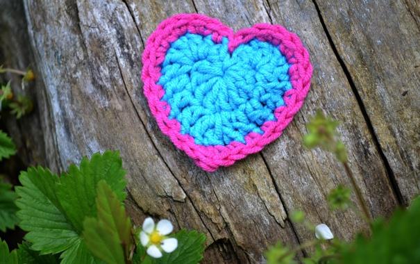 Фото обои сердце, сердечко, вязание