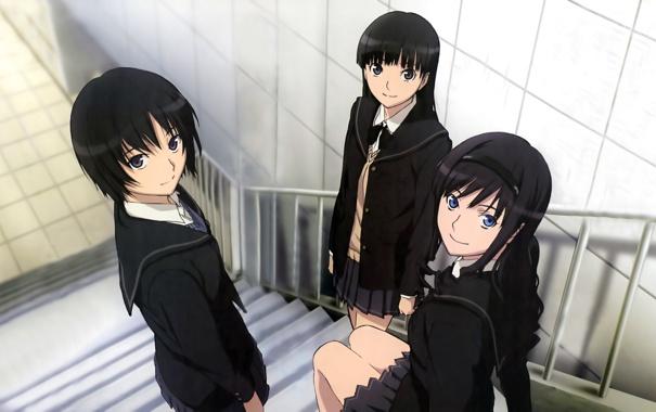 Фото обои девушки, лестница, форма, школьницы, amagami, ayatsuji tsukasa, morishima haruka