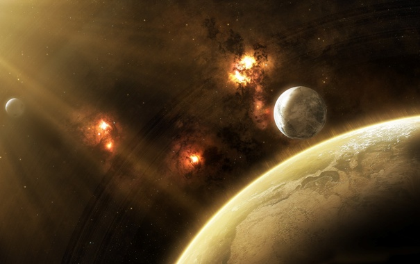 Фото обои звезды, туманность, планета, атмосфера, спутники, nebula