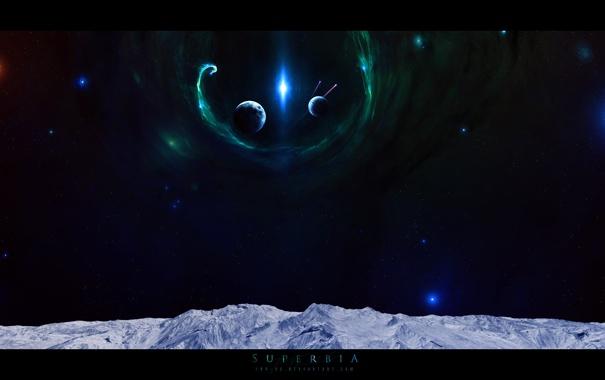 Фото обои лед, небо, звезды, поверхность, горы