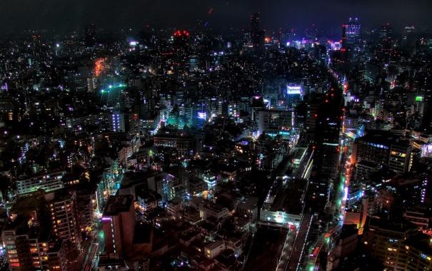 Фото обои свет, ночь, город, огни, красиво