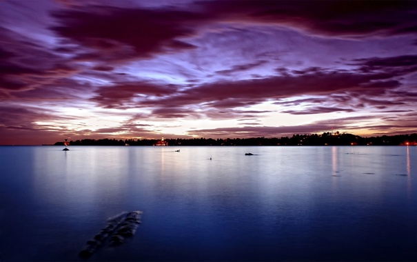 Фото обои пролив, вечер огни