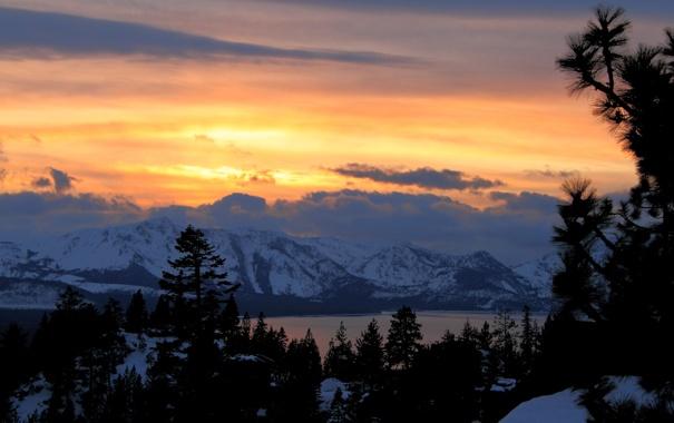 Фото обои зима, лес, закат, горы, Mountain Light