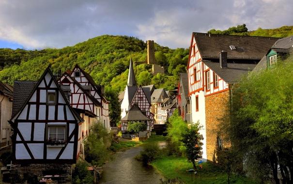 Фото обои лес, ручей, башня, дома, Германия, Монреаль, Рейнланд-Пфальц