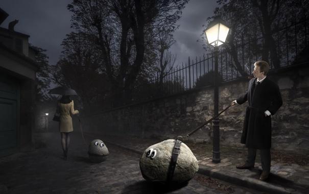 Фото обои woman, stone, night, street, man, lamp