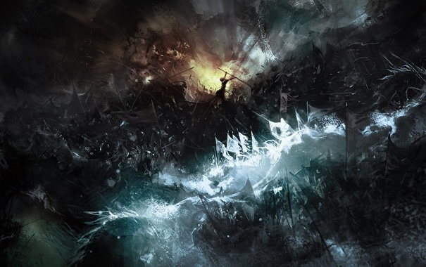 Фото обои свет, тьма, огонь, сражение, Арт, войско