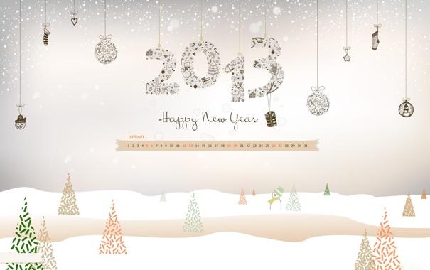 Фото обои снег, елка, снеговик, календарь, числа, дни, 2013