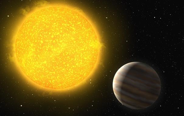 Фото обои большая, планета, звезда, желтая