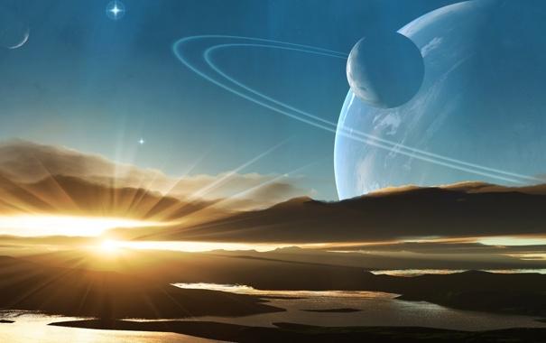 Фото обои небо, закат, планеты, sky, planets, чужой мир