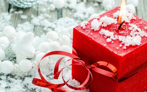 Фото обои зима, свеча, красная, бантик, ленточка