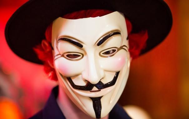 Фото обои фон, маска, анонимус